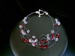 Delia - Delicate Red Crystal Wedding Bracelet (Scarlet)