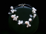 Louisa - Floating Pearl & Crystal Wedding Bracelet - Bespoke