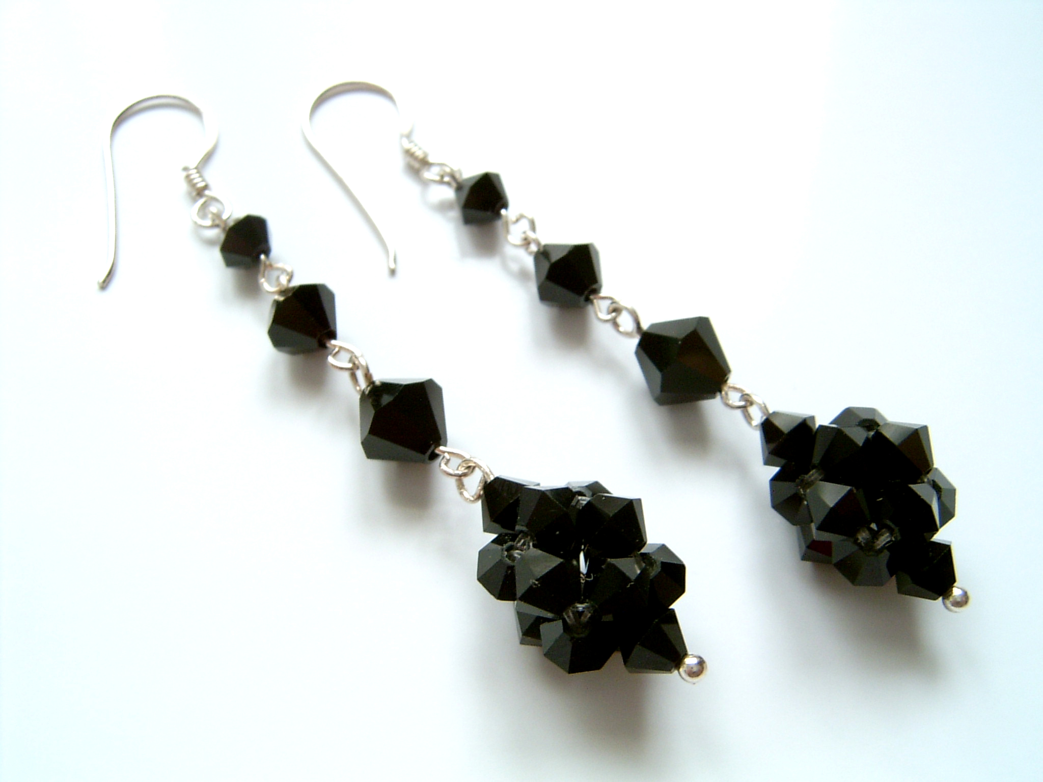Annette - Crystal Bead Long Drop Earrings (Jet Black) - Bespoke