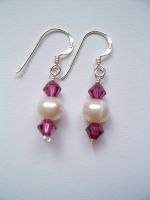 Pearl & Crystal Drop Earrings (MOBE1) - Bespoke