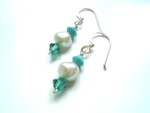 Isla - Pearl & Crystal Bead Drop Earrings (Turquoise) - Bespoke