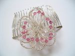 Crystal Flower Hair Comb (Rose Pink)