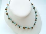 A Tiger Eye Single Strand Necklace (Turquoise Beads)
