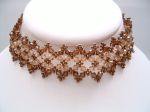 Christina - Crystal Bead Choker Necklace (Chocolate Brown)