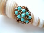 Crystal Beaded Fashion Ring (CR2F Turquoise & Brown)