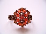 Crystal Beaded Fashion Ring (CR2F Brown & Indian Red)