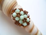 Crystal Beaded Fashion Ring (Mint & Brown)