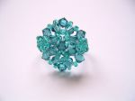 Crystal Beaded Fashion Ring (CR2F Aqua Blue)