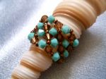 Crystal Beaded Fashion Ring (CR2R Turquoise & Brown)