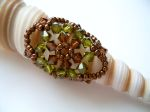 Crystal Beaded Fashion Ring (CRFF Olive Green & Brown)