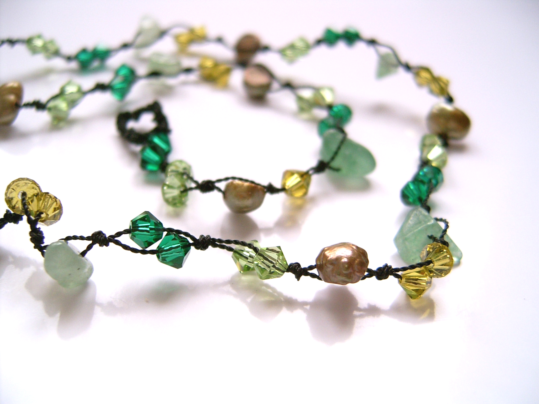 Green Aventurine & Crystal Bead Fashion Necklace (DCN03)