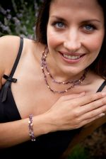 Amethyst & Crystal Bead Double Fashion Necklace (DCN201)