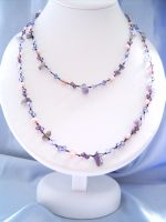 Amethyst & Crystal Bead Long Fashion Necklace (DCNL01)
