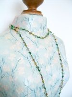 Green Aventurine & Crystal Bead Long Fashion Necklace (DCNL03)