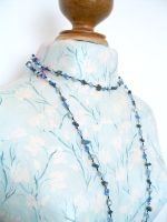 Lapis Lazuli & Crystal Bead Long Fashion Necklace (DCNL04)