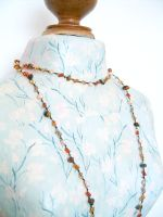 Tiger Eye & Crystal Beaded Long Fashion Necklace (DCNL07)
