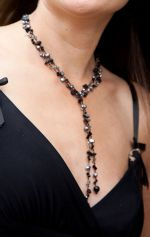 Black Onyx & Crystal Bead Lariat Fashion Necklace (DCNL2S08)
