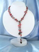 Red Coral & Crystal Beaded Lariat Fashion Necklace (DCNL2S10)