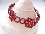 Donna - Crystal Beaded Flower Bracelet (Siam Red)