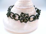 Donna - Crystal Beaded Flower Bracelet (Jet Black)