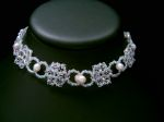 Donna - Sparkly Crystal & Pearl Wedding Choker Necklace