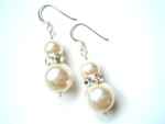 Fern - Swarovski Pearl Drop Wedding Earrings