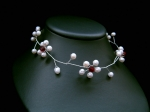 Freya - Red Crystal & Pearl Flower Choker Wedding Necklace