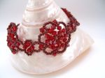 Gabriella - Crystal Beaded Flower Bracelet (Siam Red)