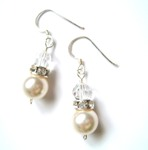 Gail - Swarovski Pearl & Crystal Drop Wedding Earrings