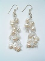 Joanna - Pearl & Crystal Drop Wedding Earrings - Bespoke
