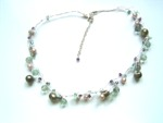 Mixed Pearl & Crystal Bead Floating Necklace