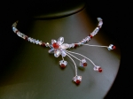 Melanie - Sparkly Red Crystal Flower Wedding Necklace - Bespoke
