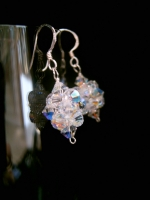 Natasha- Sparkly Crystal Bead Cluster Wedding Earrings -Bespoke