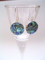 Paua Shell Round Drop Earrings
