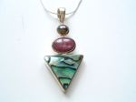 Paua Shell, Ruby & Mabe Pearl Pendant on a Silver Chain