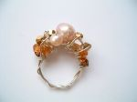 Silver Wire Beaded Ring (Amber)